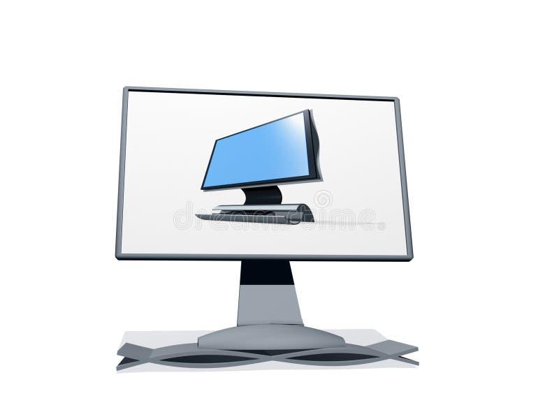 Überwachungsgerät Fernsehapparat3d mit Abbildung auf ihr stock abbildung