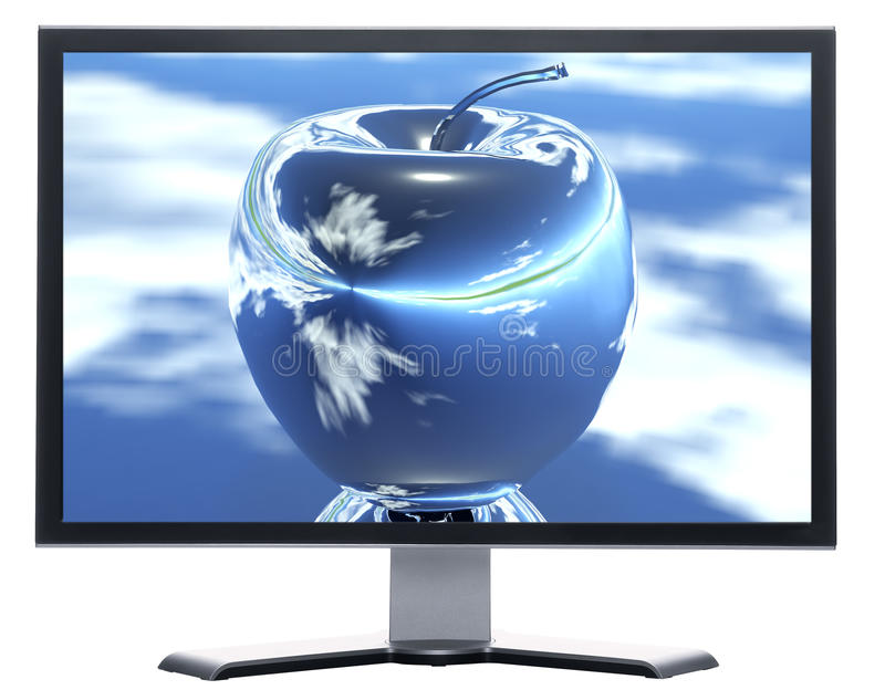 Überwachungsgerät mit Apfel auf Bildschirm lizenzfreie abbildung