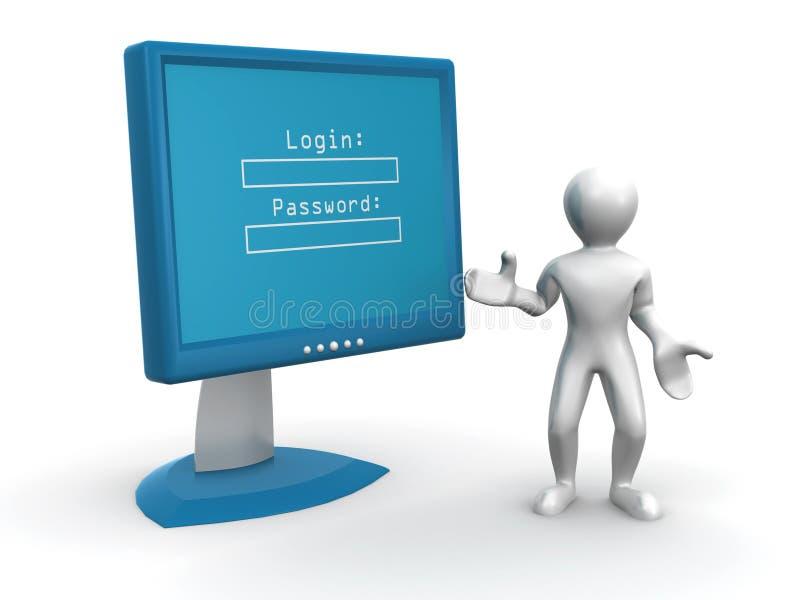 Überwachungsgerät mit LOGON und Kennwort vektor abbildung