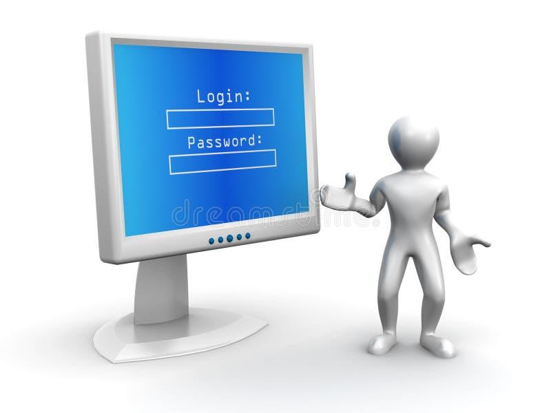 Überwachungsgerät mit LOGON und Kennwort stock abbildung