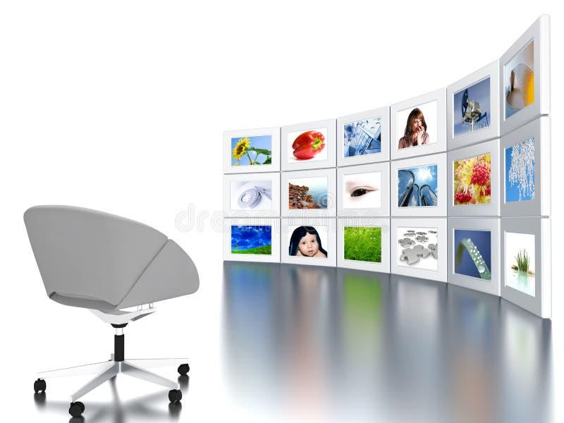 Überwachungsgeräte mit Bürolehnsessel lizenzfreie abbildung