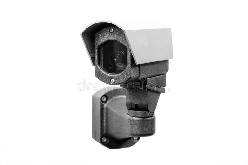 Überwachungskamera auf dem weißen Hintergrund stockbilder