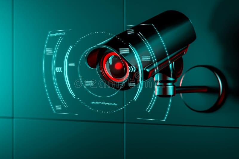 ?berwachungskamera auf Wand mit irgendeiner Art futuristische Schnittstelle oder HUD-Konzept um seine Linse, wie sie Daten erfass stock abbildung