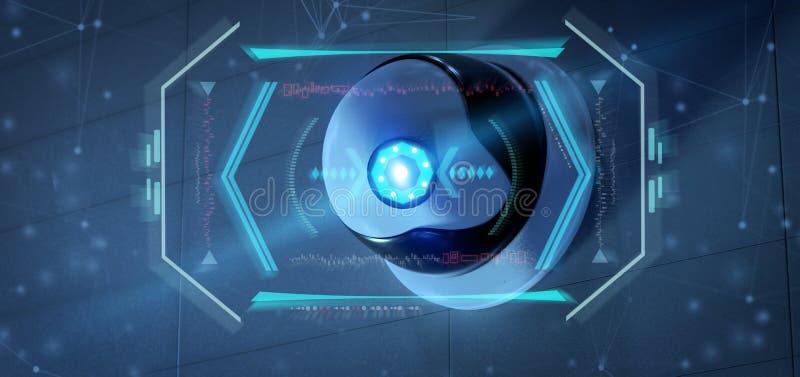 Überwachungskamera, die ein ermitteltes Eindringen - renderinga 3d anvisiert lizenzfreie abbildung
