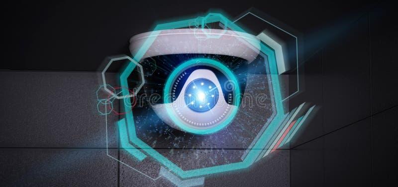 Überwachungskamera, die ein ermitteltes Eindringen - renderinga 3d anvisiert stock abbildung