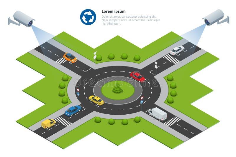 Überwachungskamera entdeckt die Bewegung des Verkehrs Cctv-Überwachungskamera auf isometrischem des Staus mit Hauptverkehrszeit stock abbildung