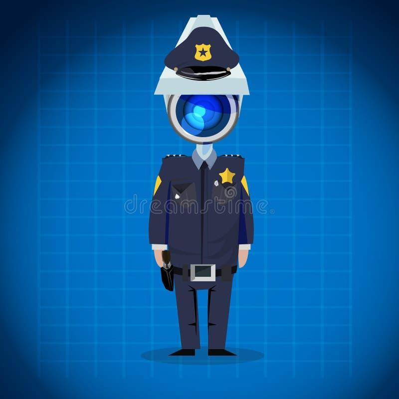 Überwachungskamera ging Mann voran Polizist, Sicherheitskonzept Zeichen D stock abbildung