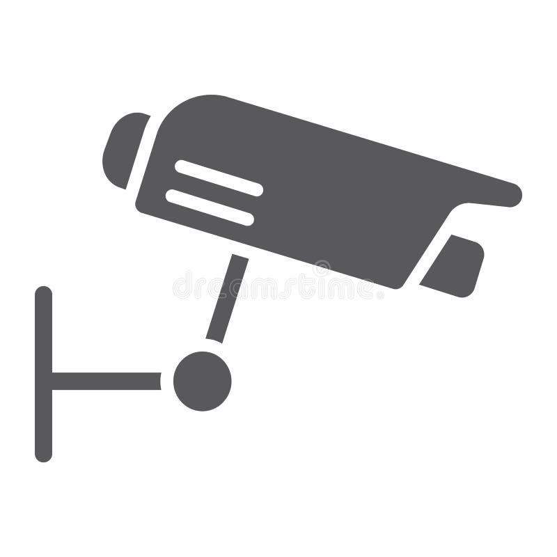 Überwachungskamera Glyphikone, -schutz und -digitales, cctv-Zeichen, Vektorgrafik, ein festes Muster auf einem weißen Hintergrund vektor abbildung