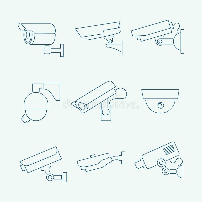 Überwachungskameraikonen eingestellt lizenzfreie abbildung