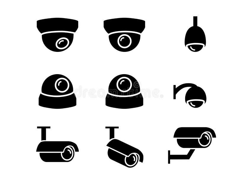 Überwachungskameraikonen und Symbol im Schattenbild, Vektor stock abbildung