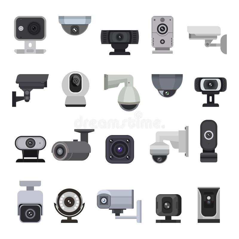 Überwachungskameravektor cctv-Steuersicherheitsvideoschutztechnologiesystem-Illustrationssatz des sicheren Schutzes des Privatleb lizenzfreie abbildung