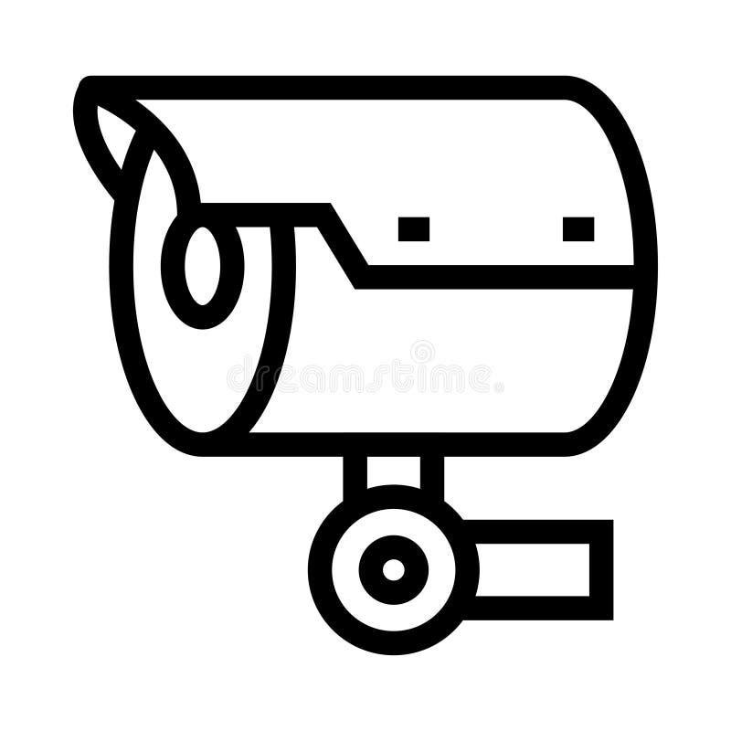 Überwachungskameravektorlinie Ikone stock abbildung