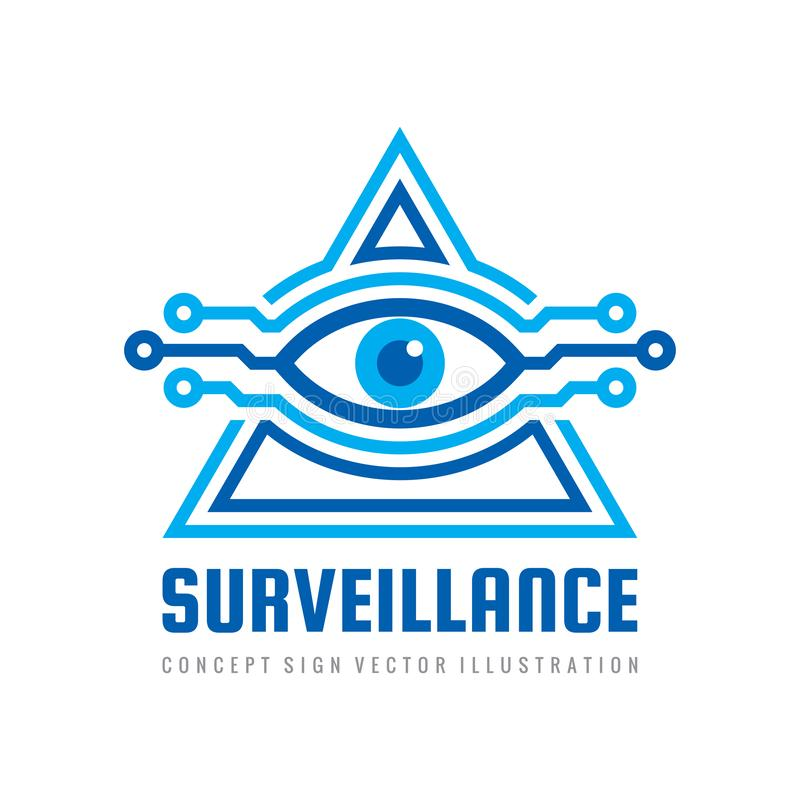 ÜberwachungsSicherheitstechnikvision - Logoentwurfs-Vektorkonzept Menschliches Auge im abstrakten Zeichen der Pyramidenform Freim stock abbildung
