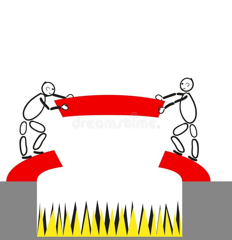 Überwinden Sie zusammen einen Abgrund vektor abbildung
