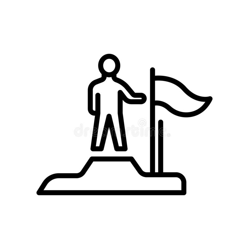 Überwundenes Ikonenvektorzeichen und -symbol lokalisiert auf weißem backgroun stock abbildung