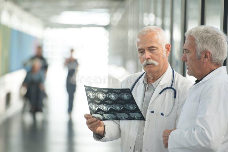 ?berzeugte Doktoren, die R?ntgenstrahlbericht im Krankenhaus halten stockfotografie