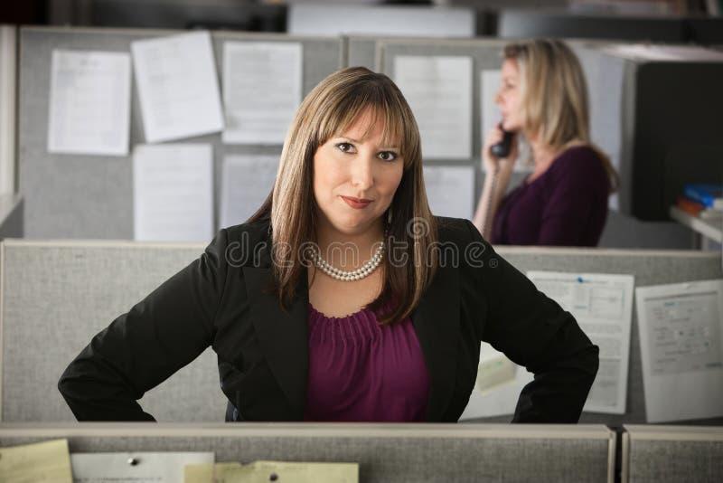 Überzeugte Frau bei der Arbeit lizenzfreie stockfotos