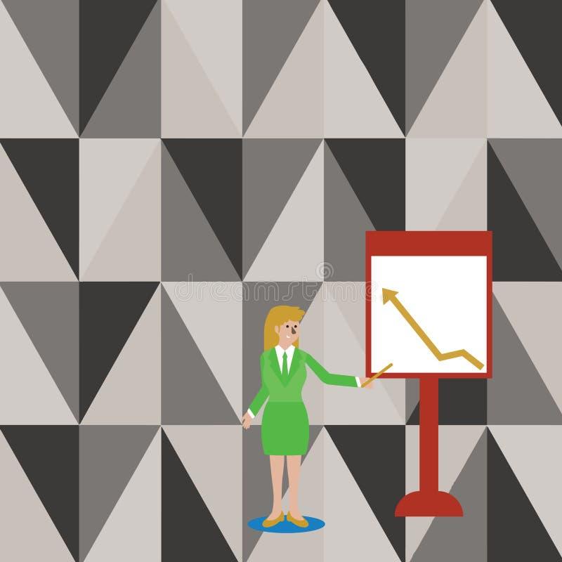 Überzeugte Frau im Anzug-Holding-Stock und Zeigen, um vom Pfeil zu entwerfen, der auf freistehendes Whiteboard steigt vektor abbildung
