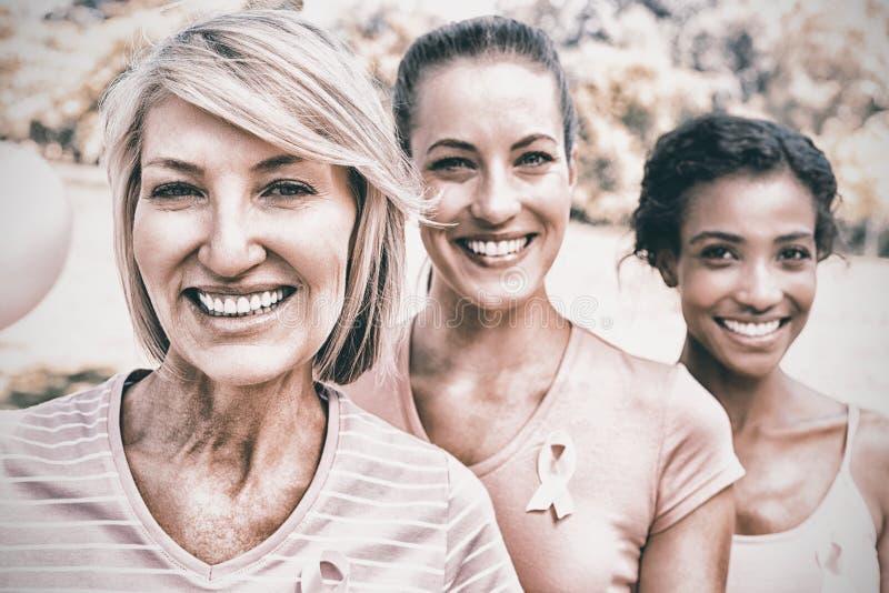 Überzeugte Freiwillige, die am Brustkrebsbewusstsein teilnehmen lizenzfreie stockbilder