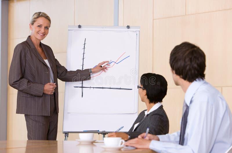 Überzeugte Geschäftsfrau, die Darstellung gibt stockfoto