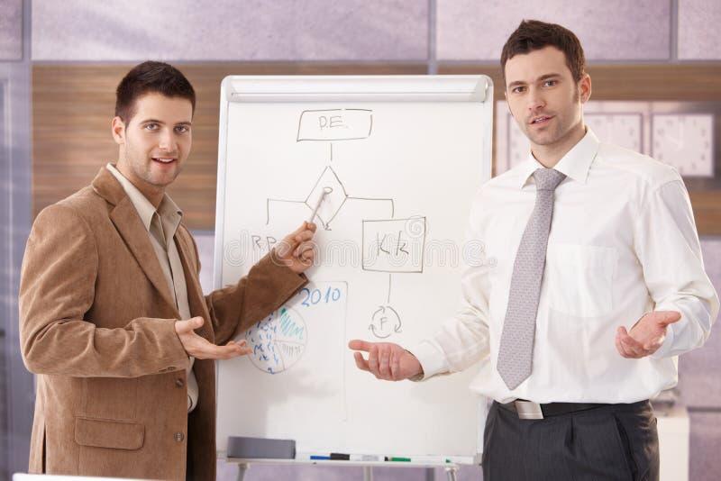 Überzeugte Geschäftsmänner, die zusammen lächeln darstellen stockfotos