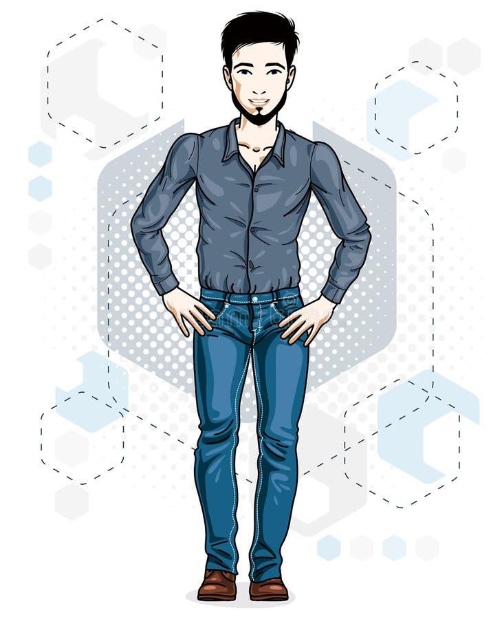 Überzeugte hübsche Stellung des jungen Mannes der Brünette Vektor Illustratio lizenzfreie abbildung