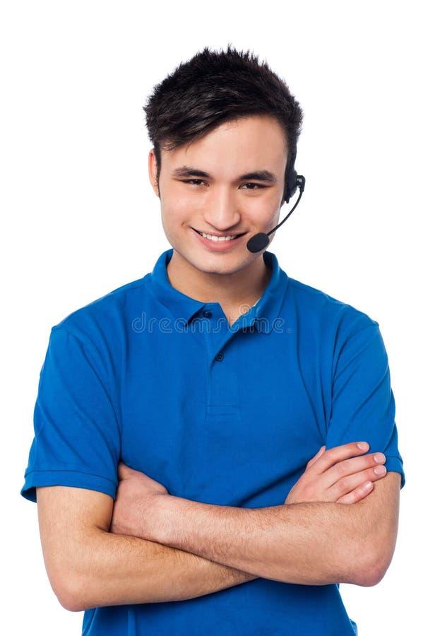 Überzeugte junge Kundenbetreuungsexekutive stockbild