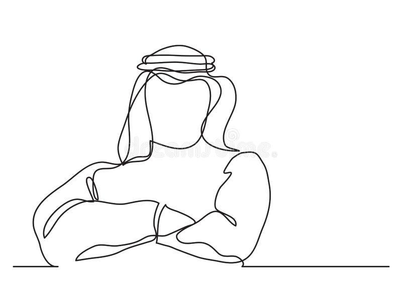 Überzeugter arabischer Geschäftsmann im keffiyeh - Federzeichnung der einzelnen Zeile vektor abbildung