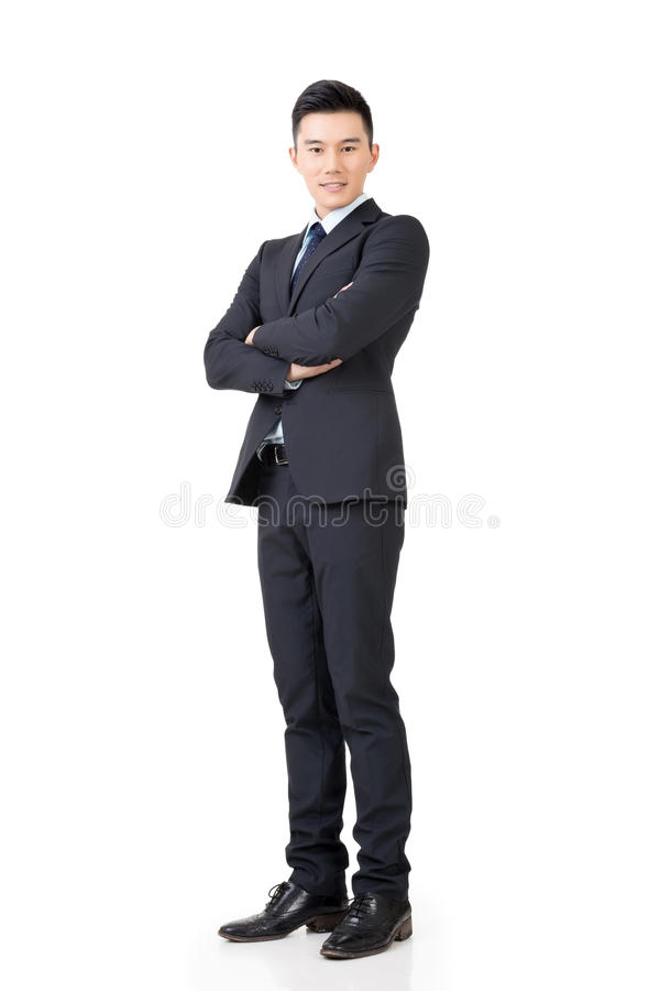 Überzeugter asiatischer Geschäftsmann lizenzfreies stockbild