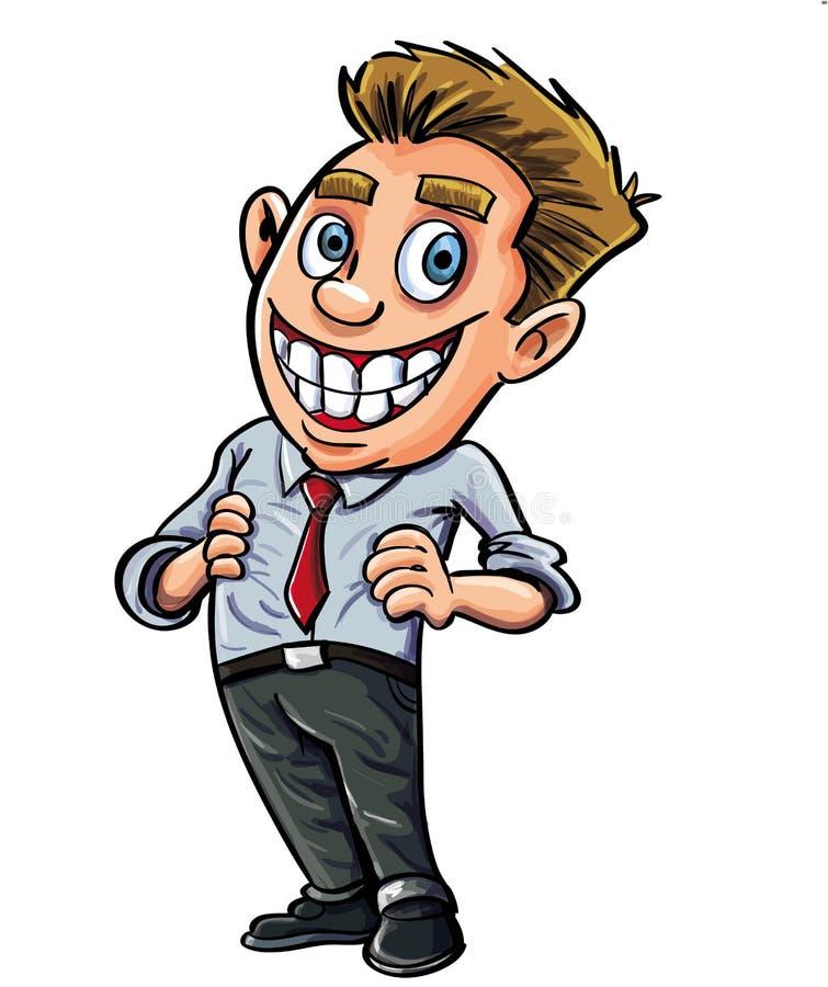 Überzeugter Büroangestellter der Karikatur lizenzfreie abbildung