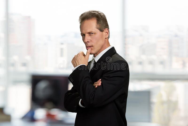 Überzeugter Geschäftsmann, der durchdacht schaut lizenzfreie stockfotos