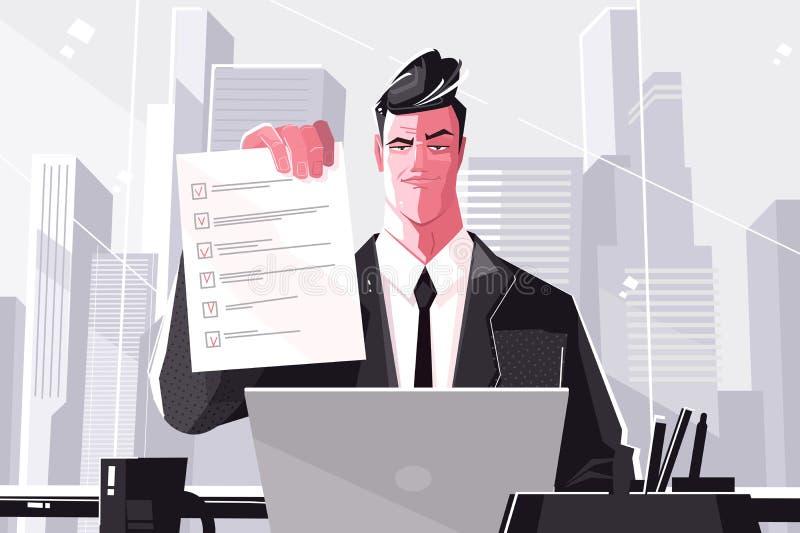 Überzeugter Geschäftsmann mit Checkliste lizenzfreie abbildung