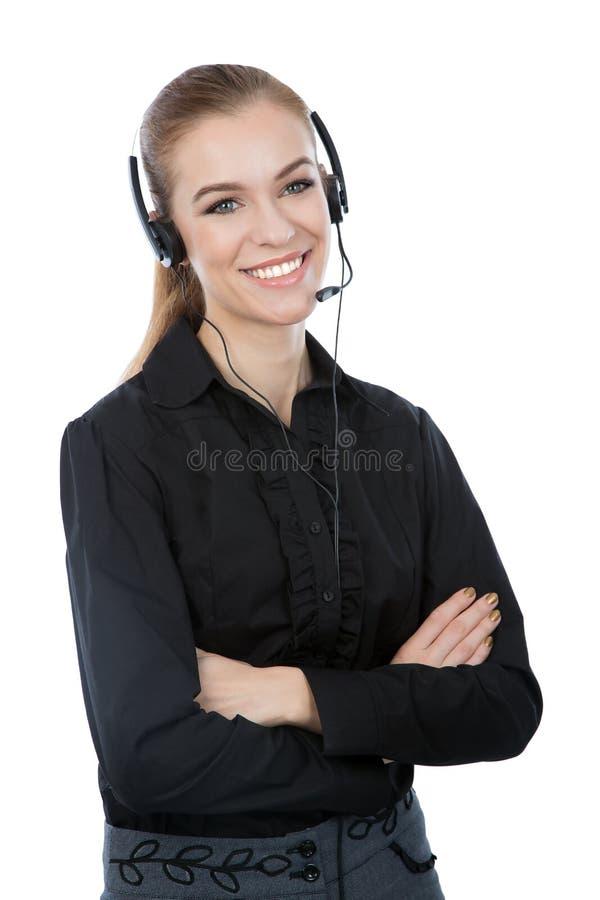 Überzeugter Kundendienstmitarbeiter. Schwarze kurze und frien lizenzfreie stockfotos