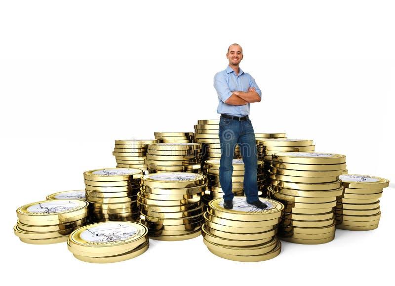Überzeugter Mann auf Geldmünze lizenzfreie stockfotos