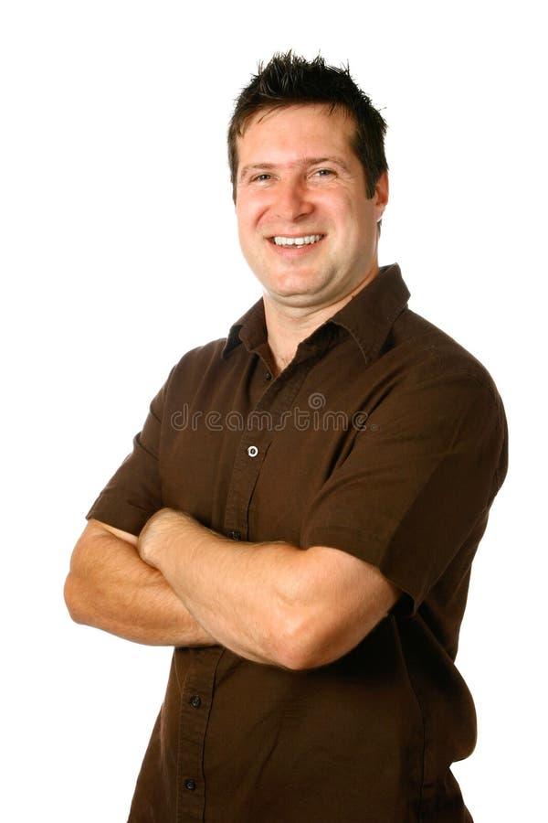 Überzeugter Mann im beiläufigen Braun stockfotos
