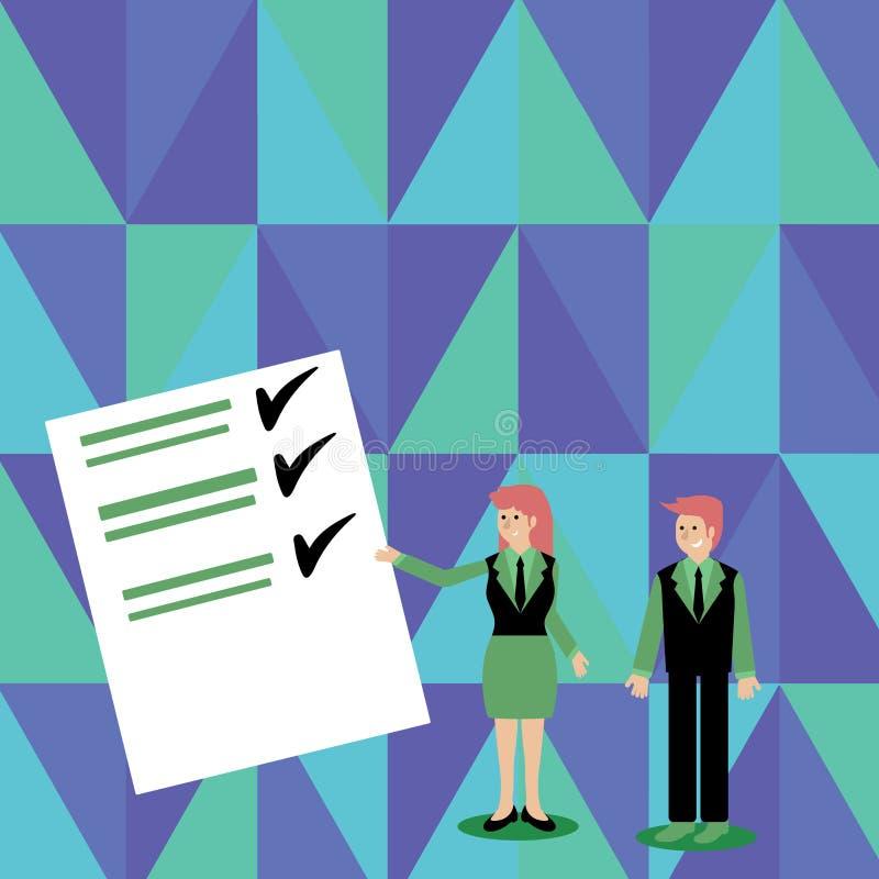 Überzeugter Mann und Frau im Anzug, der Daten-Bericht über Farbbrett steht, gestikuliert und vorlegt kreativ lizenzfreie abbildung