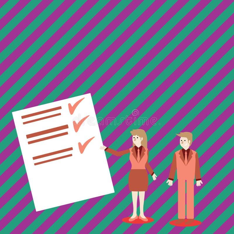 Überzeugter Mann und Frau im Anzug, der Daten-Bericht über Farbbrett steht, gestikuliert und vorlegt kreativ vektor abbildung
