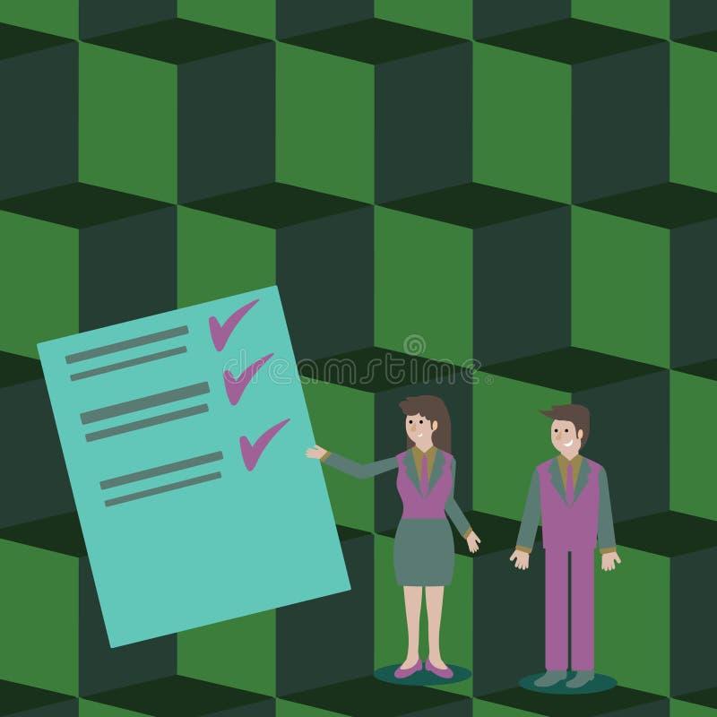 Überzeugter Mann und Frau im Anzug, der Daten-Bericht über Farbbrett steht, gestikuliert und vorlegt kreativ stock abbildung