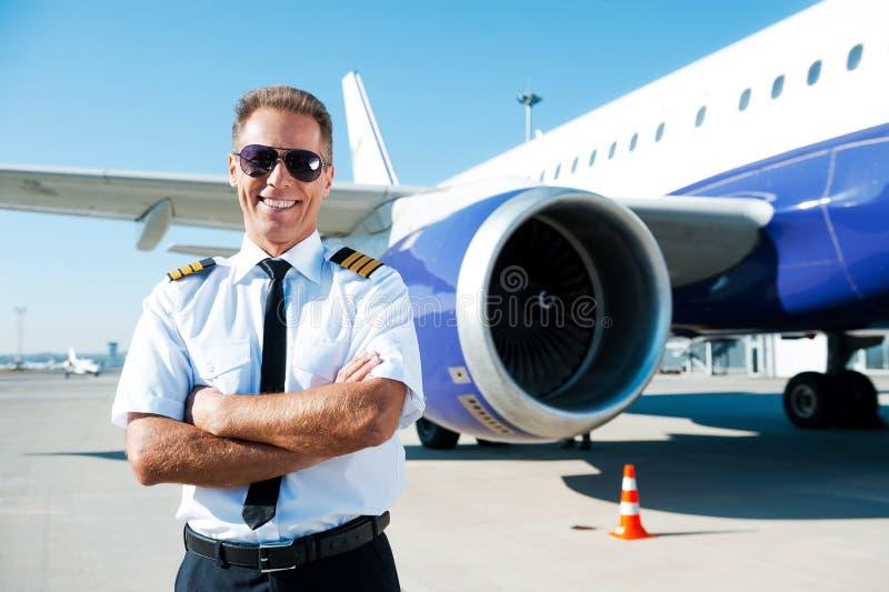 Überzeugter Pilot stockfoto