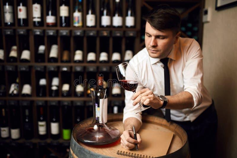 Überzeugter professioneller angenehmer männlicher Sommelier, der das Glas betrachtet lizenzfreies stockfoto