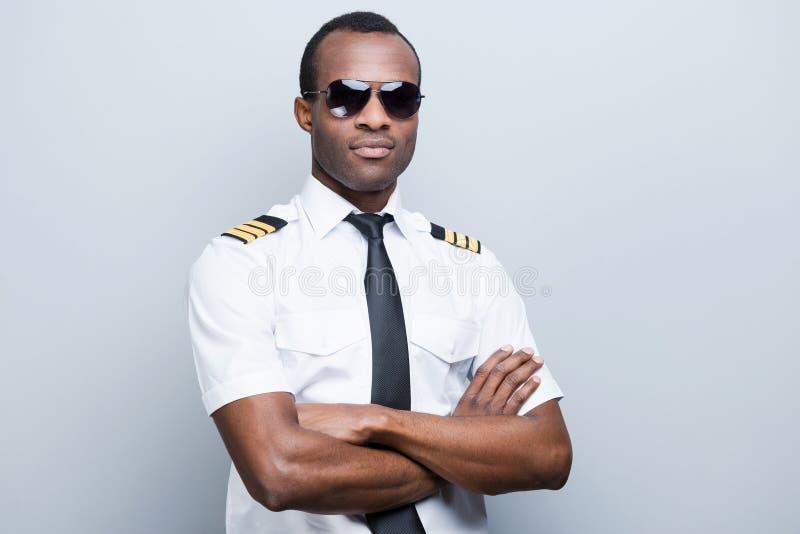 Überzeugter und erfahrener Pilot lizenzfreie stockfotos