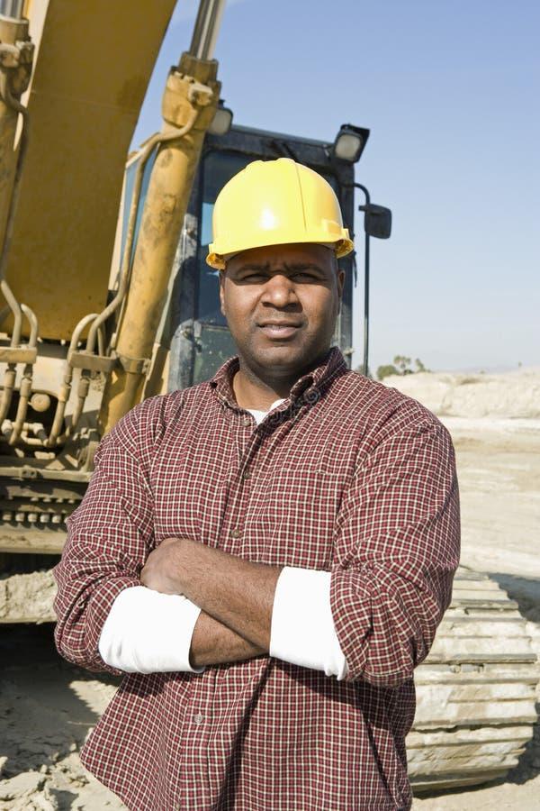 Überzeugter Vorarbeiter At Construction Site stockfotos
