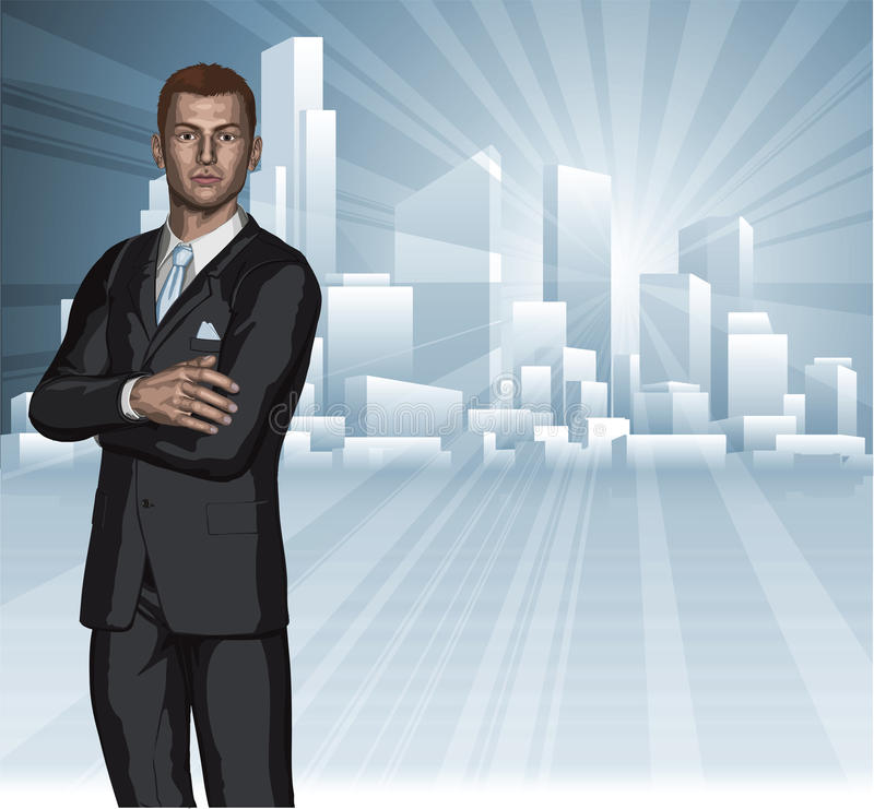 Überzeugtes junges Geschäftsmannstadt-Skylinekonzept vektor abbildung