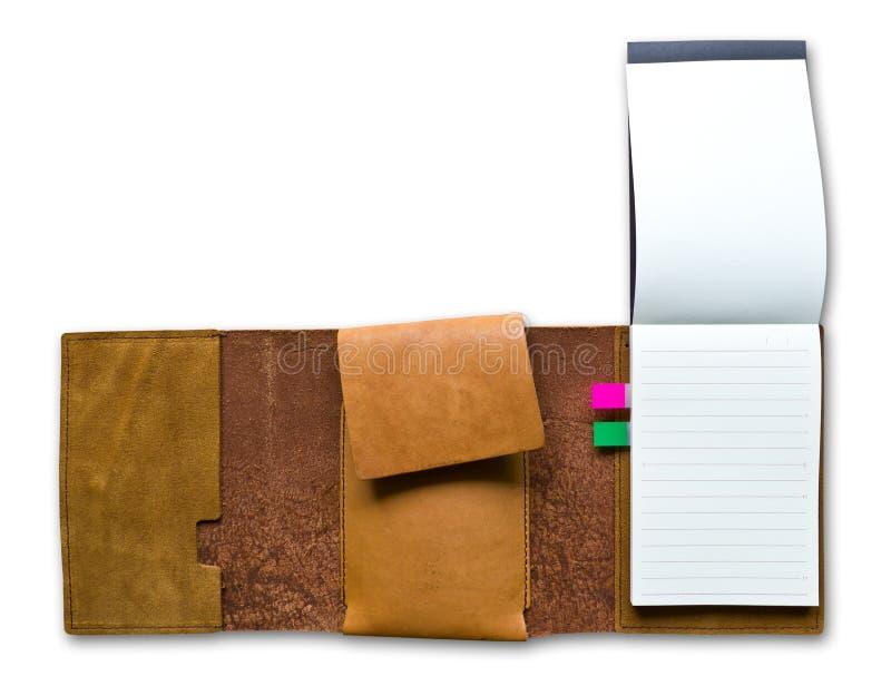 Überziehen Sie das getrennte Fallnotizbuch mit Leder lizenzfreie stockfotografie