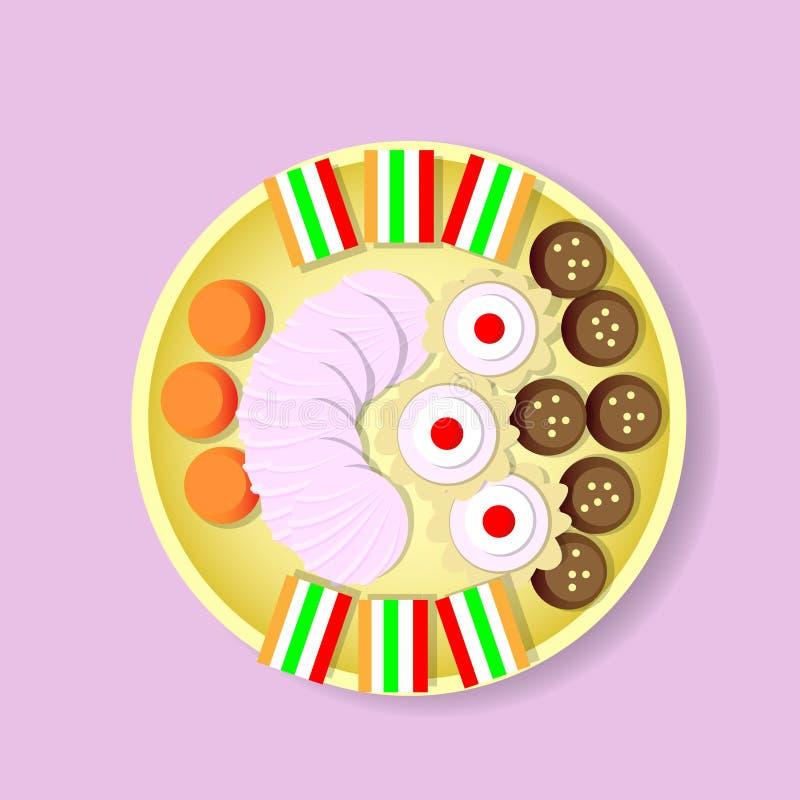 Überziehen Sie mit Bonbons Süßigkeit, Keks, Fruchtgelee, Zefir-Draufsicht lizenzfreie abbildung