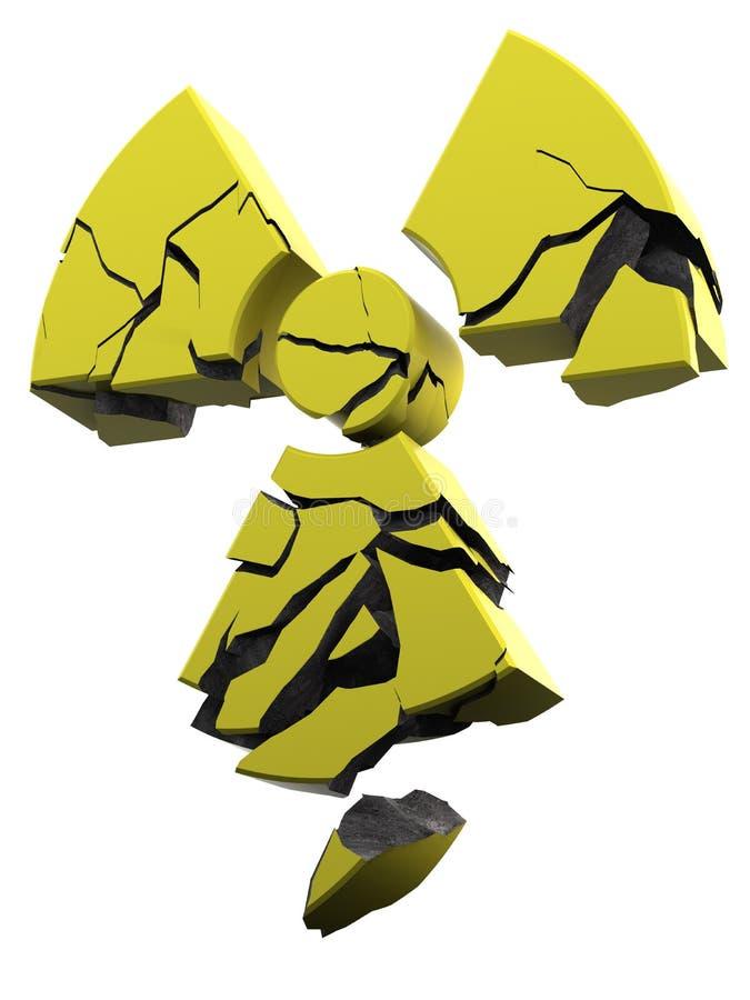 Überzogener Beton des Radioaktivitätszeichen-Gelbs stock abbildung