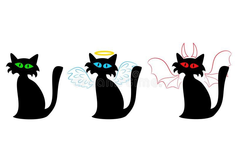 Übliche der schwarzen Katze, ein Engel und ein Teufel vektor abbildung