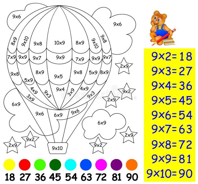 Übung für Kinder mit Vermehrung durch neun - müssen Sie Bild in der relevanten Farbe malen stock abbildung