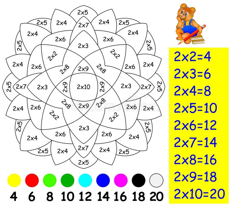 Übung für Kinder mit Vermehrung durch zwei - müssen Sie Bild in der relevanten Farbe malen stock abbildung