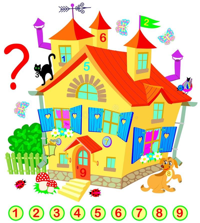 Übung für Kleinkinder Müssen Sie die Zahlen finden versteckt im feenhaften Haus Logikrätselspiel stock abbildung